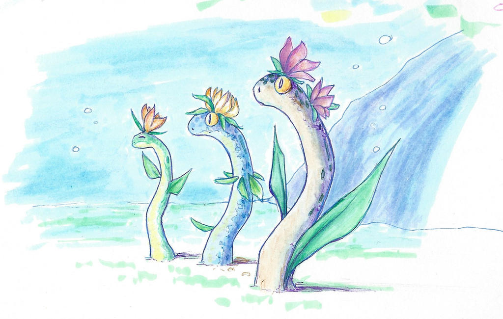 garden eel, eel garden by MrGlassesMan