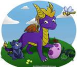Spyro, Sparx, and baby dragons by charliethemew012