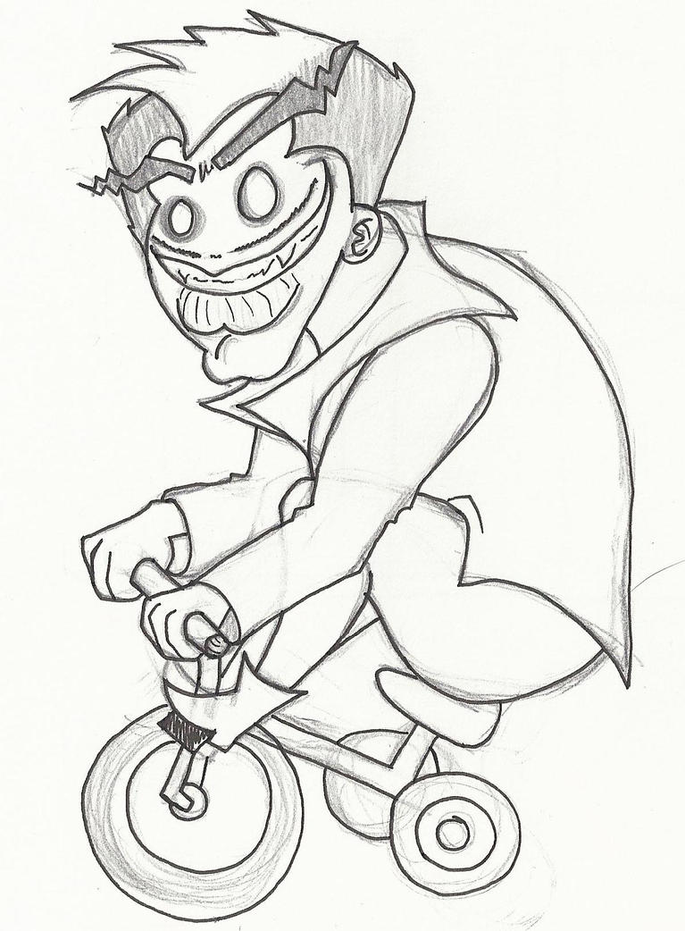 Childish Moron On Bicycle by RubiiART