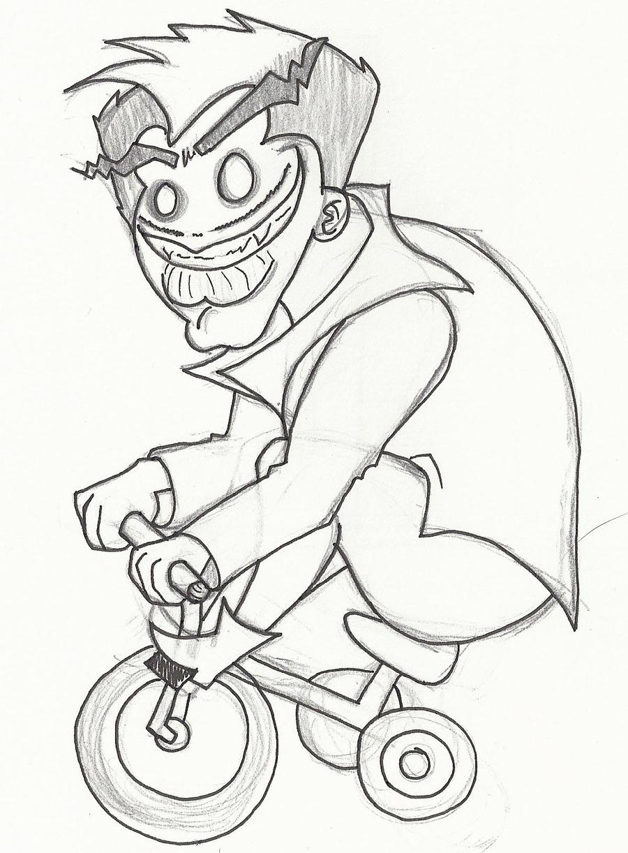 Childish Moron On Bicycle by RubiiART