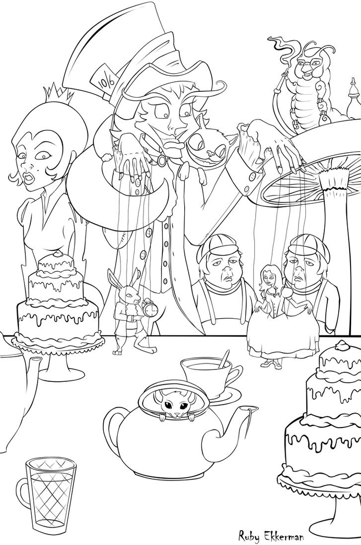 Alice In Wonderland Line Art by RubiiART