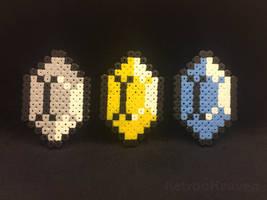 Perler Pixel Art: 3 pieces Zelda Rupee
