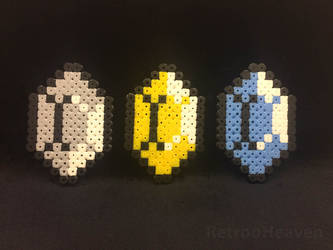 Perler Pixel Art: 3 pieces Zelda Rupee