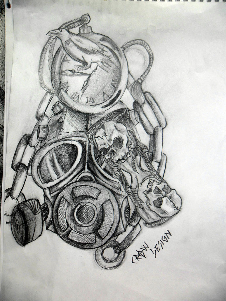 gas mask and time tattoo design by zacrow on DeviantArt Gas Mask Tattoo Sketch