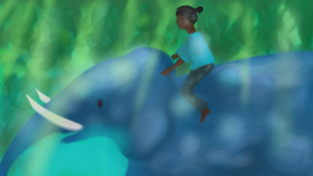 Girl riding elephant by andomarianne