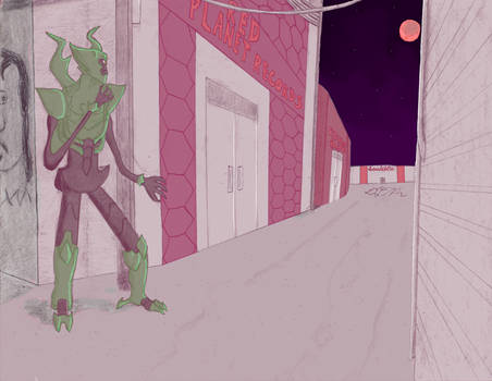 Green Alien Watches Red Moon