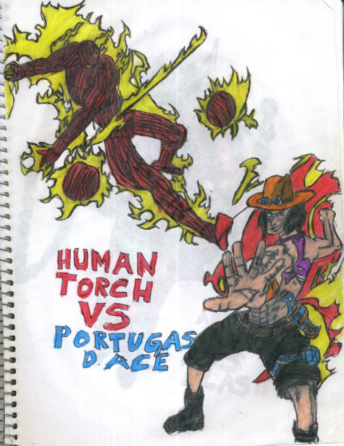 Human Torch Vs Portugas D Ace by thorman