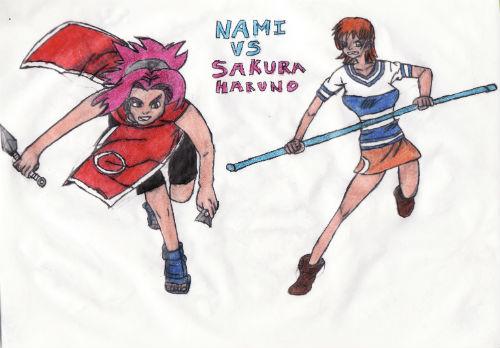 Nami Vs Sakura Haruno by thorman