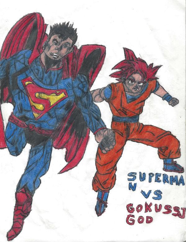 Superman Vs Goku Ssj God by thorman