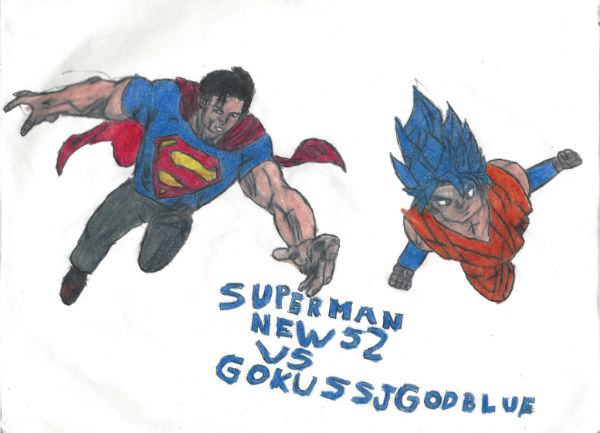Superman New 52 Vs Goku Ssj God Blue by thorman