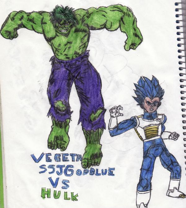 Vegeta Ssj God Blue Vs Hulk by thorman