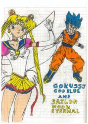 Goku Ssj God Blue And Sailor Moon Eternal