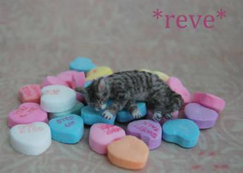 Miniature Sculpture Tabby Cat Sleeping