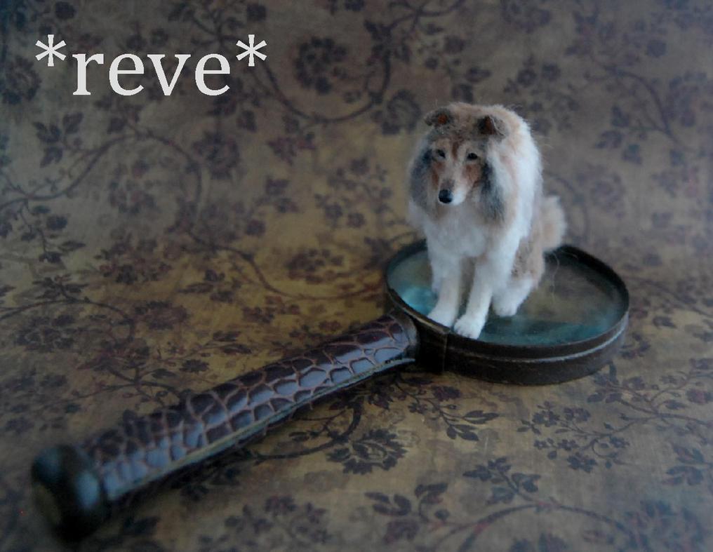 Handmade Miniature Rough Collie Dog Sculpture by ReveMiniatures