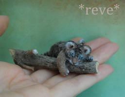 Handmade 1:12 Miniature Sculpture Tiger Cub Sleepi by ReveMiniatures