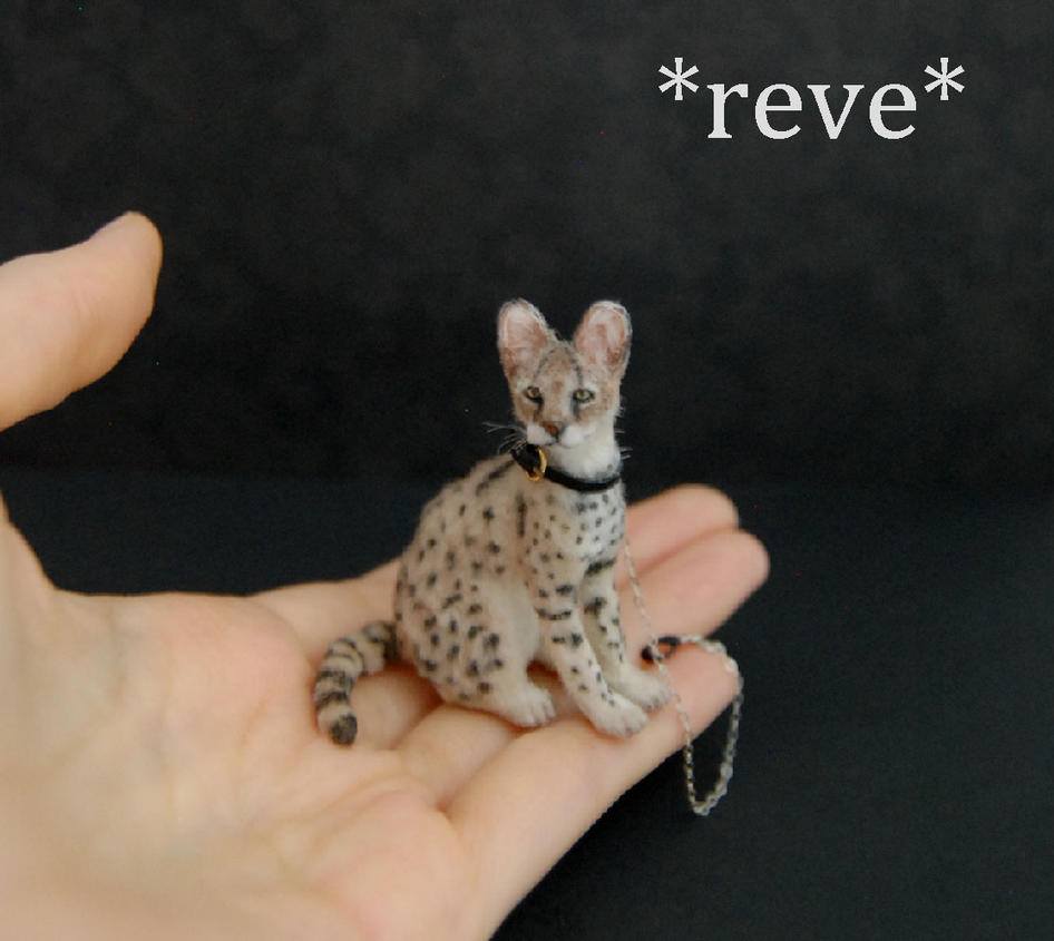 Handmade Miniature Serval Cat Sculpture by ReveMiniatures