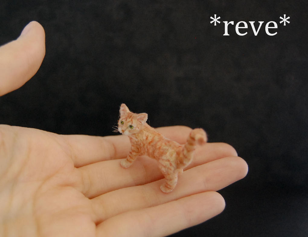 Handmade Miniature Red Tabby Cat Sculpture by ReveMiniatures