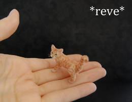 Handmade Miniature Red Tabby Cat Sculpture by ReveMiniatures
