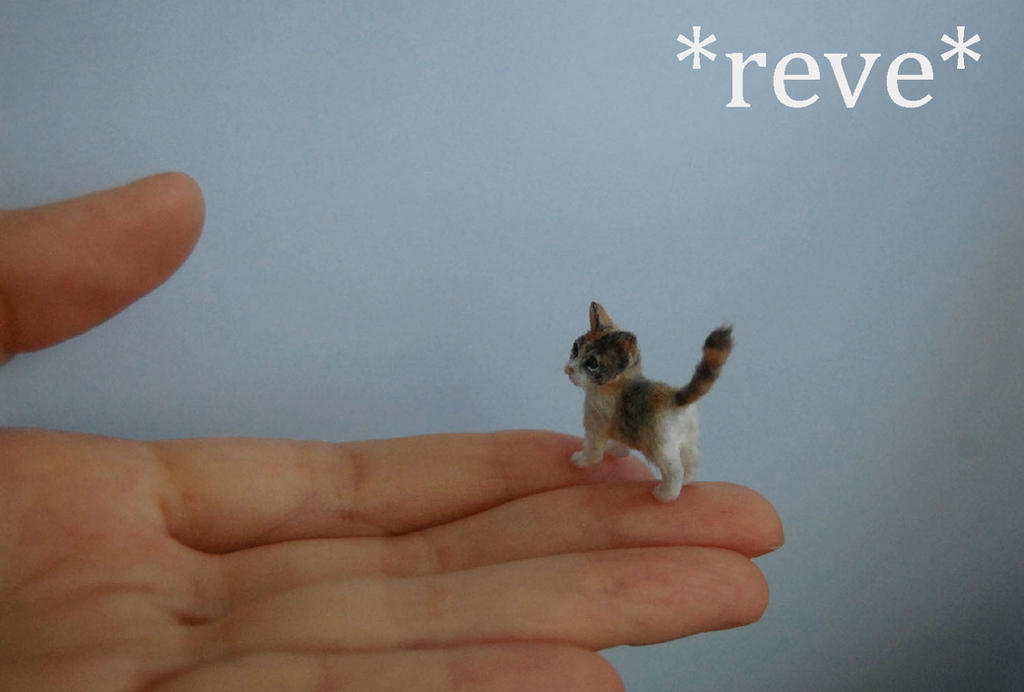 OOAK Handmade Miniature Calico Kitten Sculpture by ReveMiniatures