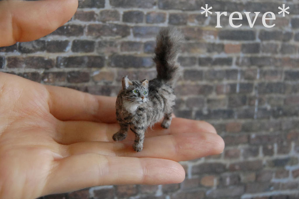 OOAK Handmade Miniature Tabby Cat Sculpture by ReveMiniatures