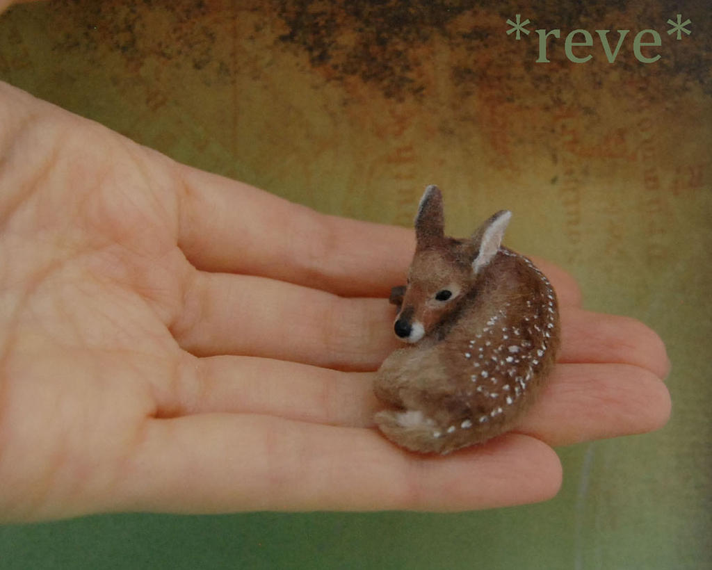 Baby Fawn Handmade Miniature Sculpture by ReveMiniatures