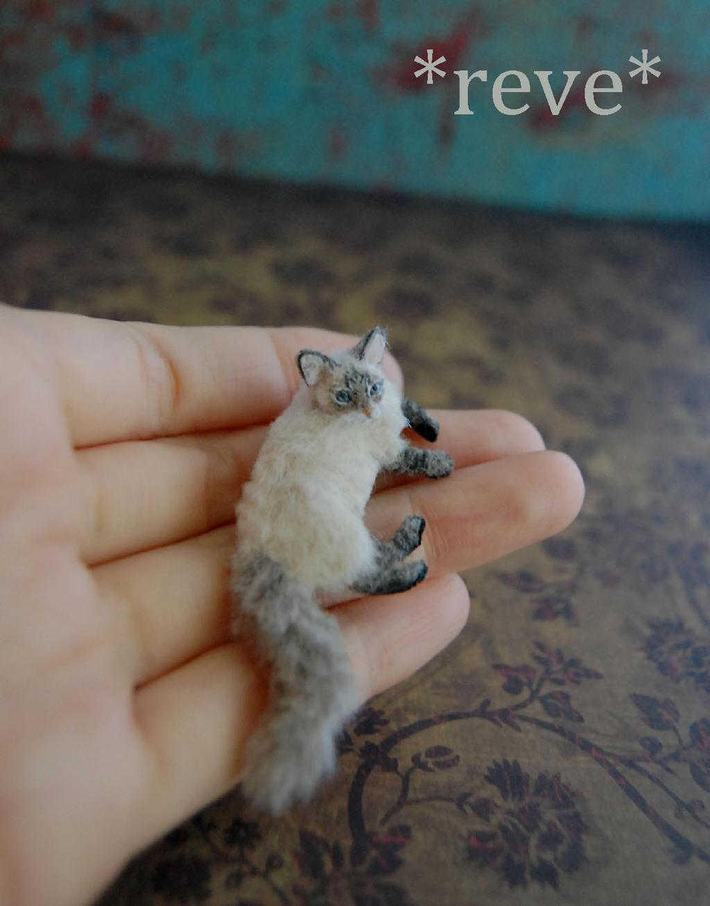 Blue Lynx Point Cat Handmade Miniature Sculpture by ReveMiniatures