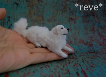 Great Pyrenees Dog Handmade Miniature Sculpture by ReveMiniatures