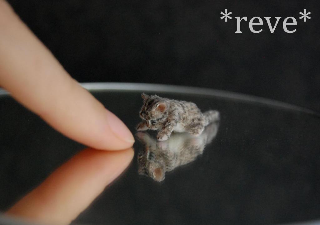 Handmade Miniature Sculpture Tabby Kitten by ReveMiniatures