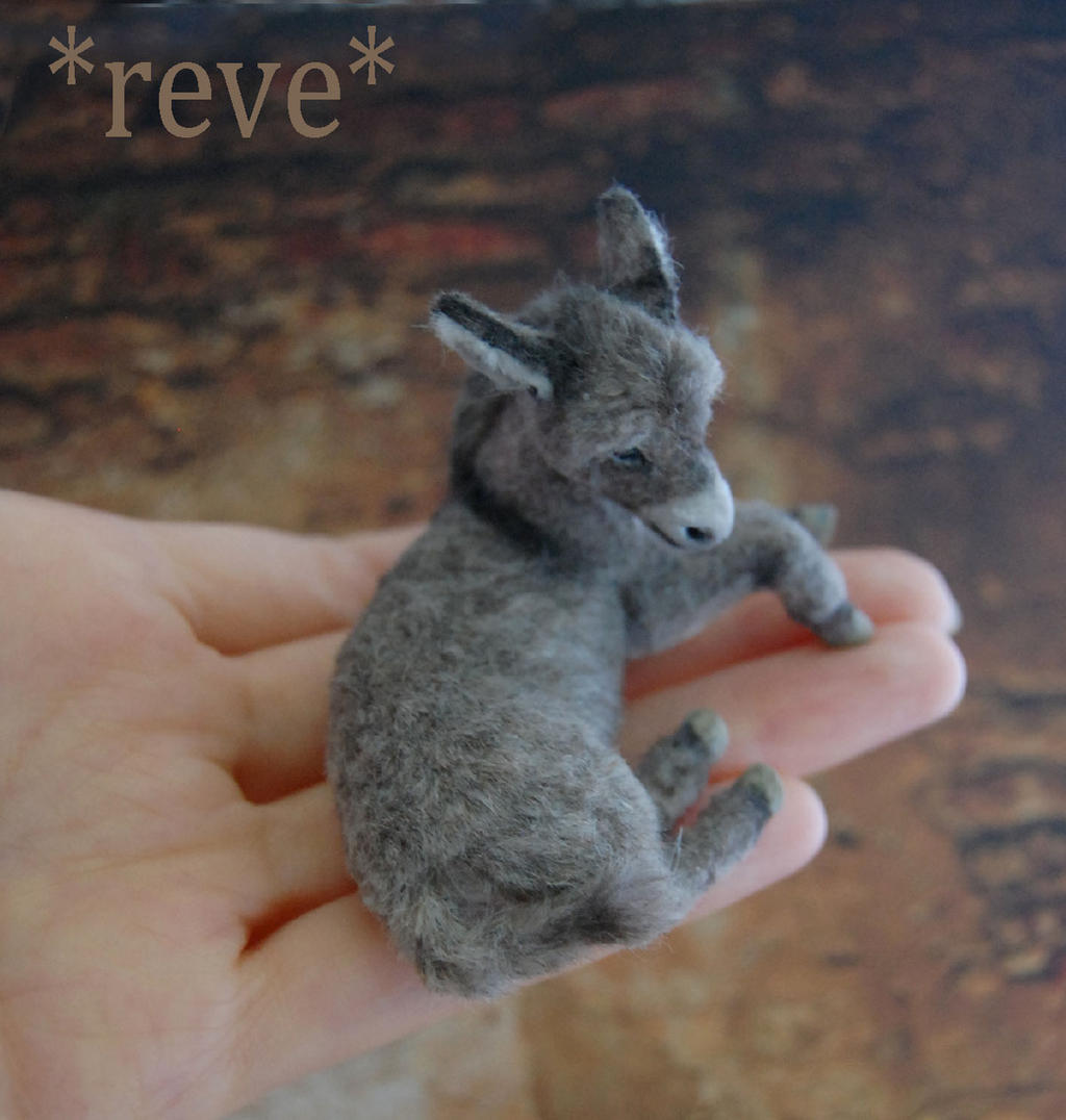 Miniature Donkey Foal Handmade Sculpture by ReveMiniatures