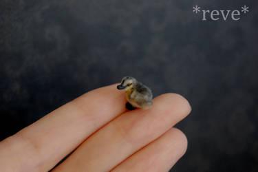 Miniature Mallard Duckling Handmade Sculpture by ReveMiniatures