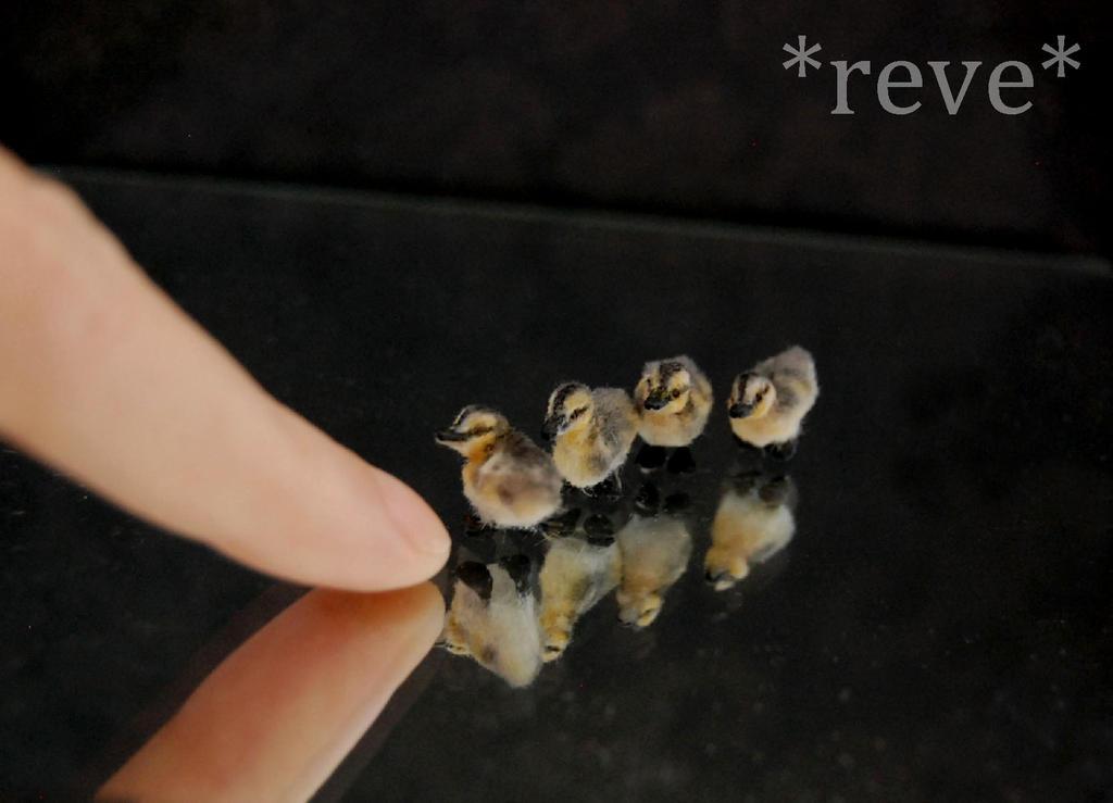 Mallard Ducklings Miniature Handmade Sculptures by ReveMiniatures