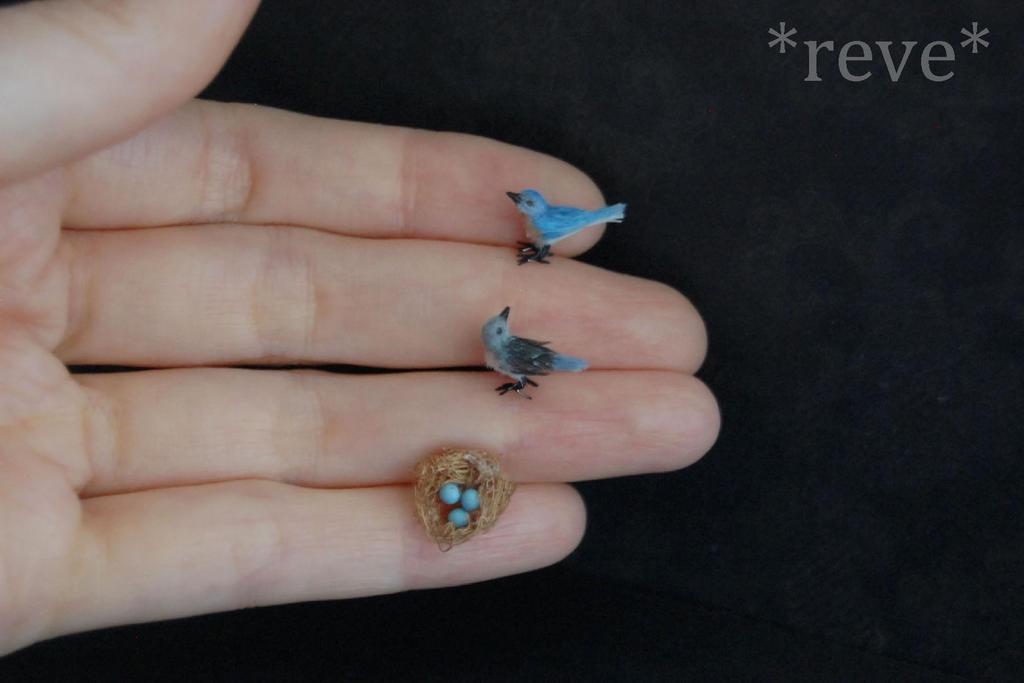 Bluebirds Family Handmade Miniature Sculpture by ReveMiniatures