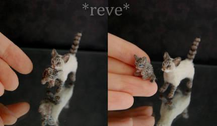 Cat carrying Kitten Handmade Sculpture