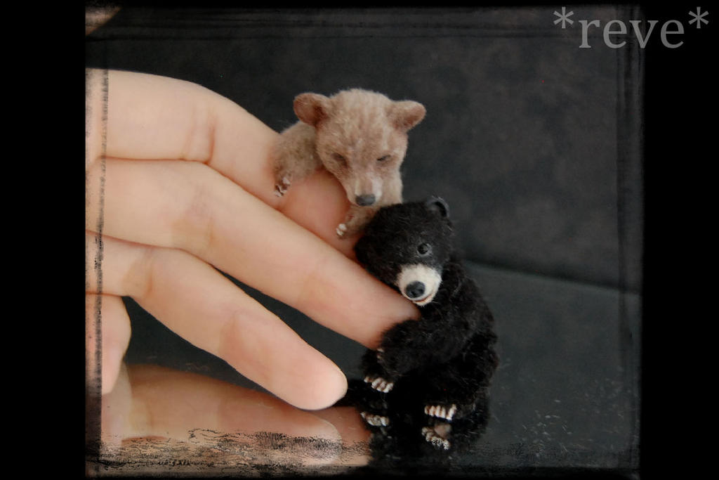 Miniature Bear cubs * Handmade Sculpture * by ReveMiniatures