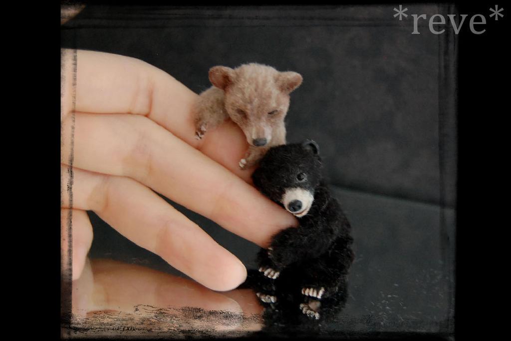 Miniature Bear cubs * Handmade Sculpture * by ReveMiniatures