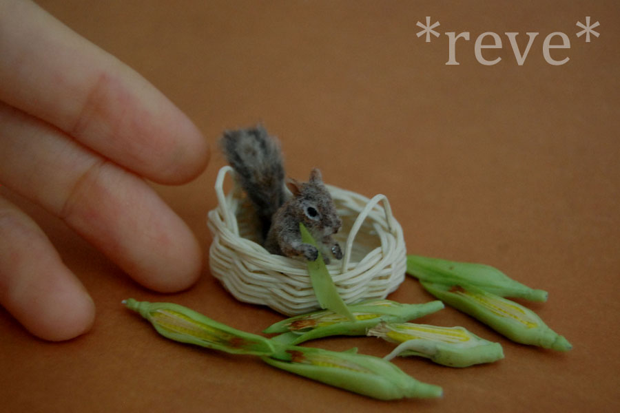 Miniature Squirrel * Handmade Sculpture * by ReveMiniatures