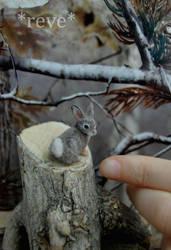 Miniature Cottontail Rabbit * Handmade Sculpture *