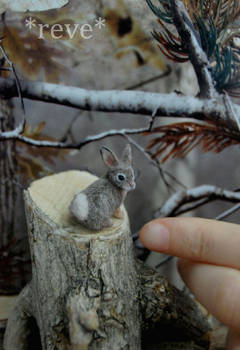 Miniature Cottontail Rabbit * Handmade Sculpture *
