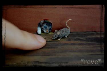 Miniature Kitten and Mouse * Handmade Sculpture * by ReveMiniatures