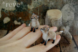 Miniature Red Fox Kits * Handmade Sculpture *