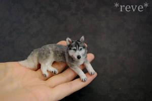 Miniature Siberian Husky Dog * Handmade Sculpture by ReveMiniatures