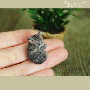 Handmade Miniature Kitten Sculpture