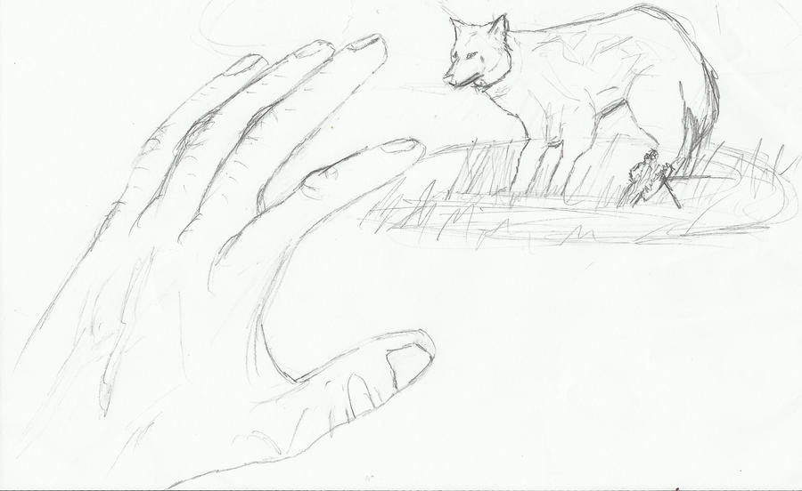 hand reaching out drawing