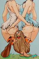 Captain Caveman with Wilma and Betty by PAPA-PopArt