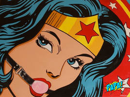 Ball Gag Wonder Woman BDSM Painting by PAPA by PAPA-PopArt