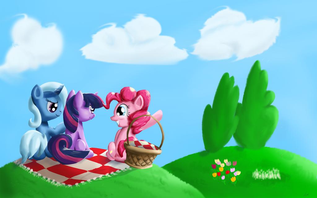 Trixie, Twilight, and Pinkie by kittyhawk-contrail