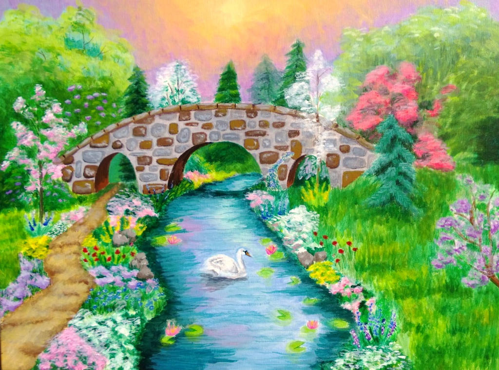 Original Acrylic Painting Bridge Landscape By Clara24ever