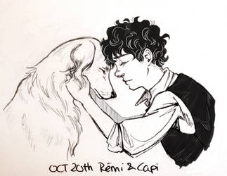 Inktober 20 - Remi and Capi by Shuukaku92