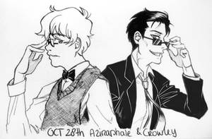 Inktober 28 - Aziraphale and Crowley