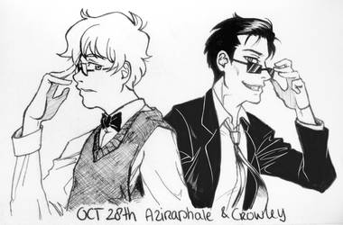 Inktober 28 - Aziraphale and Crowley by Shuukaku92